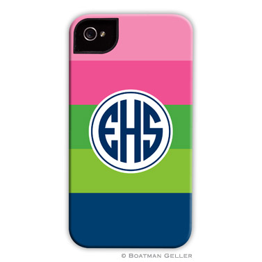 iPod & iPhone Cell Phone Case - Bold Stripe Pink, Green & Navy