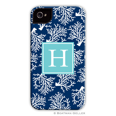 iPod & iPhone Cell Phone Case - Coral Repeat Navy