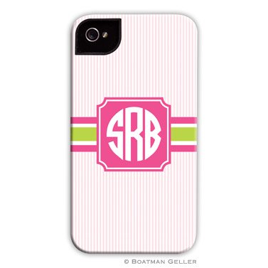 iPod & iPhone Cell Phone Case - Seersucker Band Pink & Green