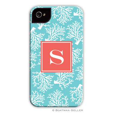 iPod & iPhone Cell Phone Case - Coral Repeat Teal