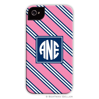 iPod & iPhone Cell Phone Case - Repp Tie Pink & Navy