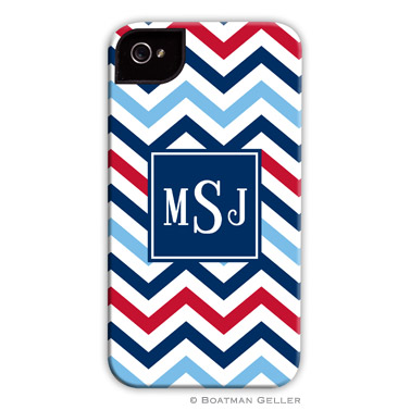 iPod & iPhone Cell Phone Case - Chevron Blue & Red