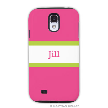 Samsung Galaxy & Samsung Note Case - Stripe Raspberry & Lime