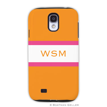 Samsung Galaxy & Samsung Note Case - Stripe Tangerine & Raspberry