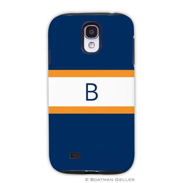 Samsung Galaxy & Samsung Note Case - Stripe Navy & Tangerine