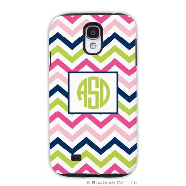 Samsung Galaxy & Samsung Note Case - Chevron Pink, Navy & Lime