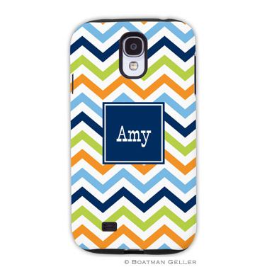 Samsung Galaxy & Samsung Note Case - Chevron Blue, Orange & Lime