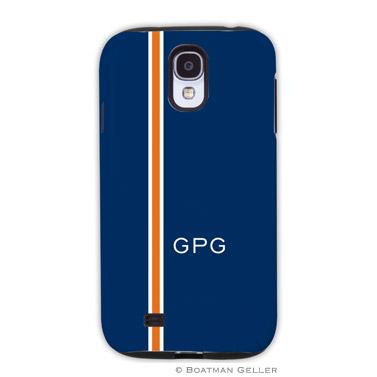 Samsung Galaxy & Samsung Note Case - Racing Stripe Navy & Orange