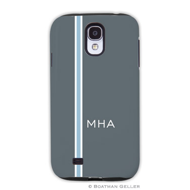 Samsung Galaxy & Samsung Note Case - Racing Stripe Charcoal & Light Blue
