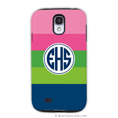 Samsung Galaxy & Samsung Note Case - Bold Stripe Pink, Green & Navy