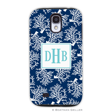 Samsung Galaxy & Samsung Note Case - Coral Repeat Navy