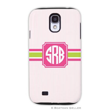 Samsung Galaxy & Samsung Note Case - Seersucker Band Pink & Green