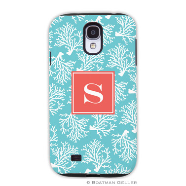 Samsung Galaxy & Samsung Note Case - Coral Repeat Teal