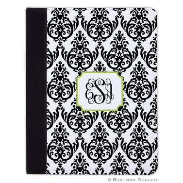 iPad, iPad Mini, iPad Air Cases & Cover - Madison Damask White with Black