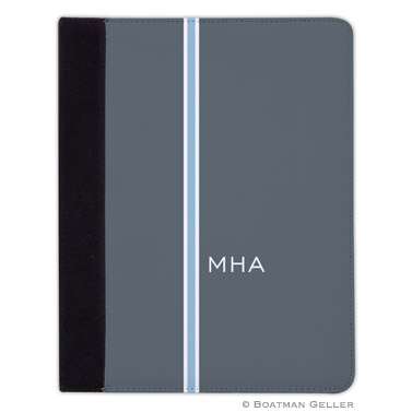 iPad, iPad Mini, iPad Air Cases & Cover - Racing Stripe Charcoal & Light Blue