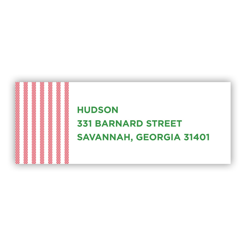 Seersucker Red Address Label
