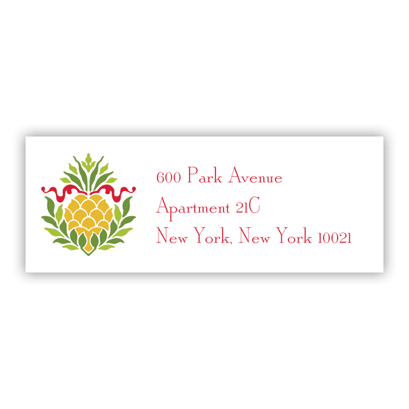 Pineapple Ribbon Red Address Label