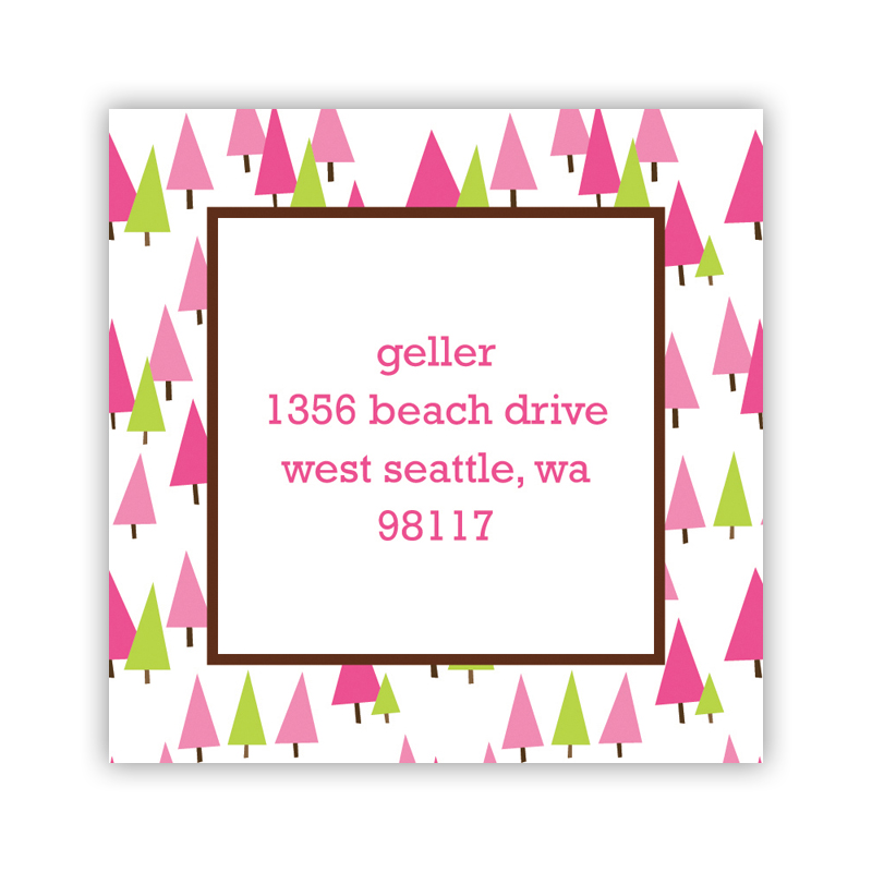 Holiday Trees Pink Square Sticker