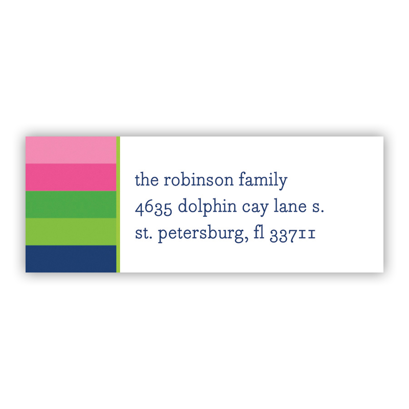 Bold Stripe Pink, Green & Navy Address Label