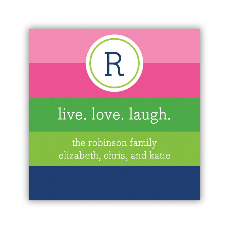 Bold Stripe Pink, Green & Navy Square Sticker