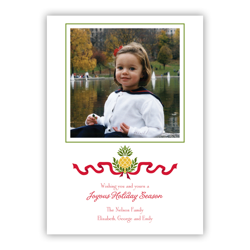 Pineapple Ribbon Holiday Flat Photocards