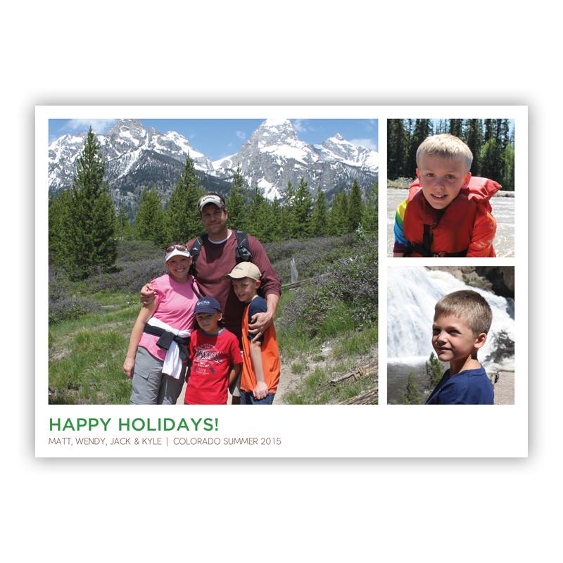 White Frame Three Photos Holiday Flat Photocards
