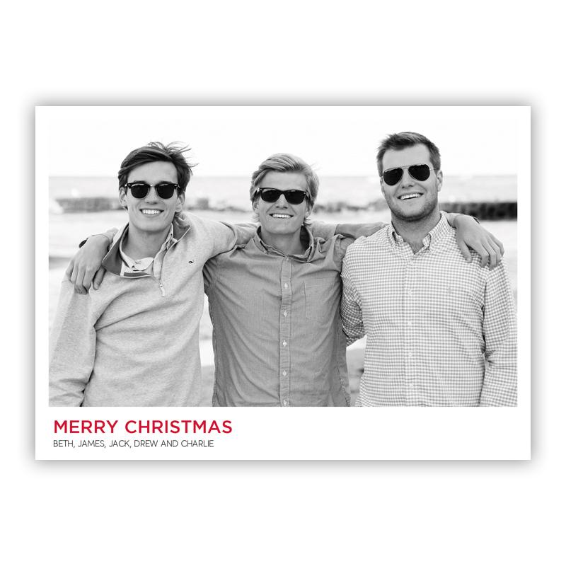 White Frame One Photo Holiday Flat Photocards