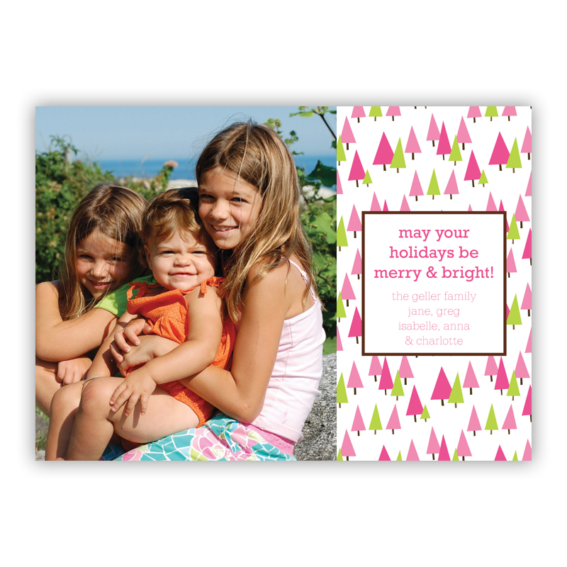 Holiday Trees Pink Holiday Flat Photocards