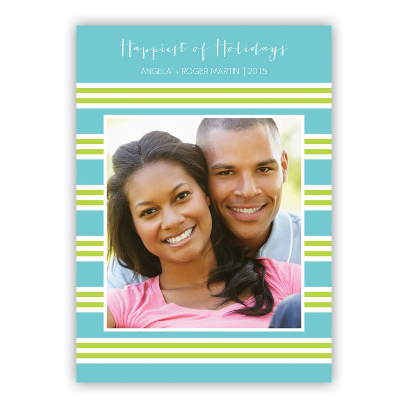 Millie Stripe Teal and Lime Holiday Flat Photocards