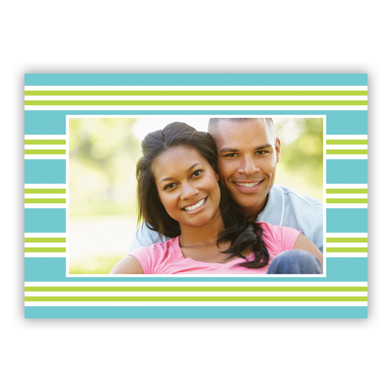 Millie Stripe Teal and Lime Holiday Folded Photocards
