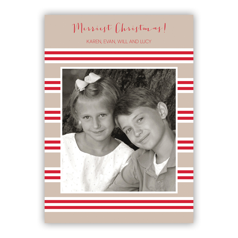 Millie Stripe Tan and Red Holiday Flat Photocards