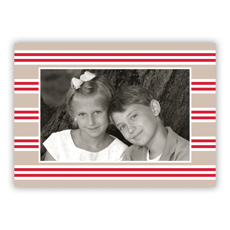 Millie Stripe Tan and Red Holiday Folded Photocards