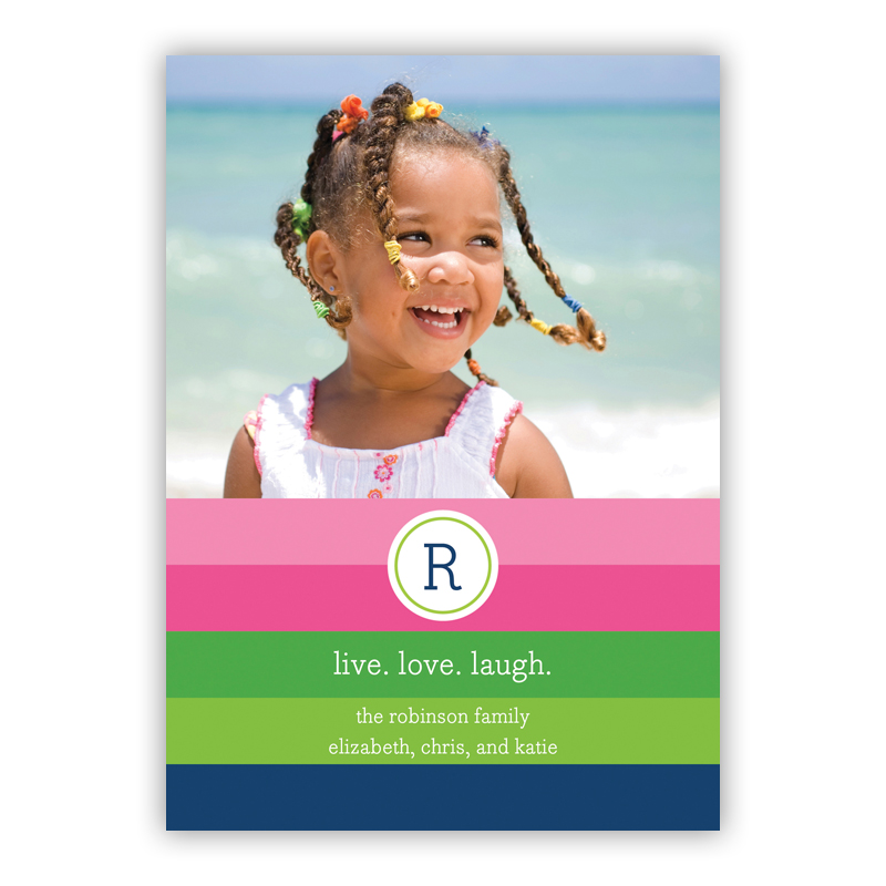 Bold Stripe Pink, Green & Navy Holiday Flat Photocards