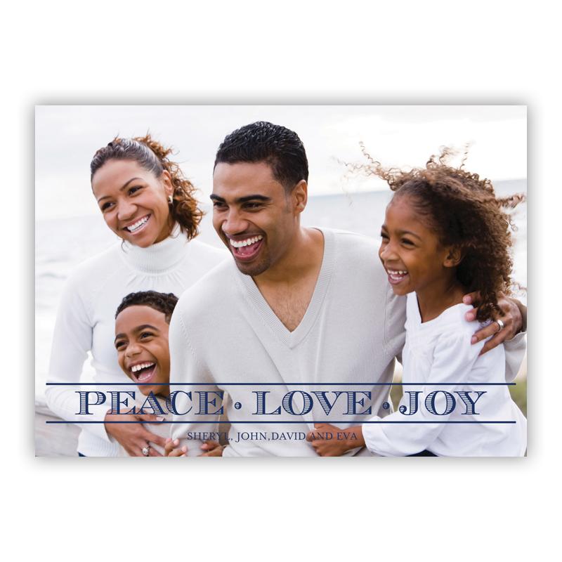 Engraved Caps Peace Love Joy Holiday Flat Photocards