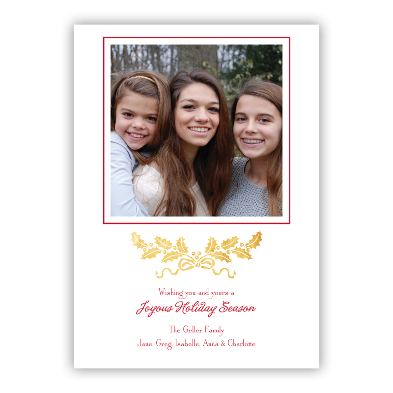 Holly Swag Foil Holiday Flat Photocard