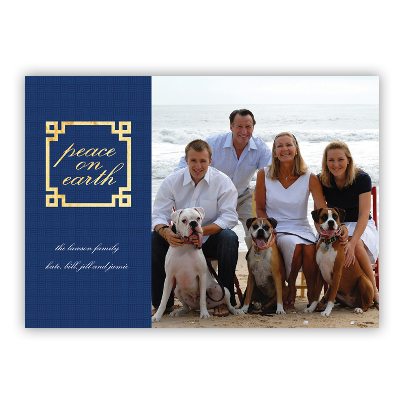 Peace Frame Navy Foil Holiday Flat Photocard