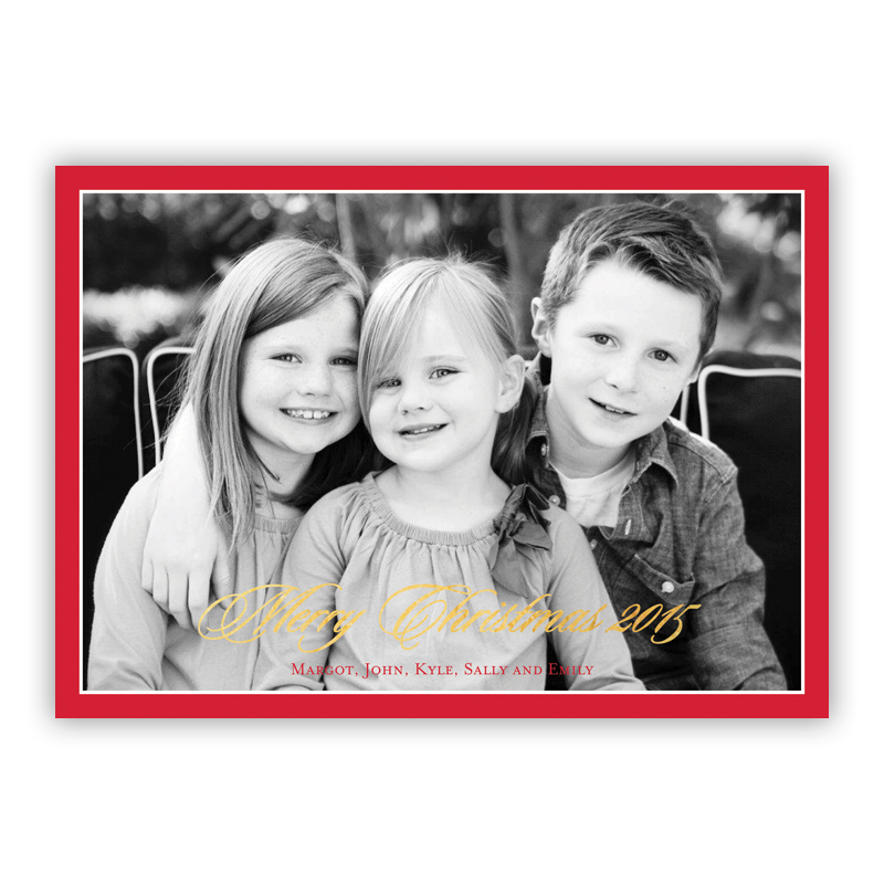 Christmas Border Red with Foil Holiday Flat Photocard