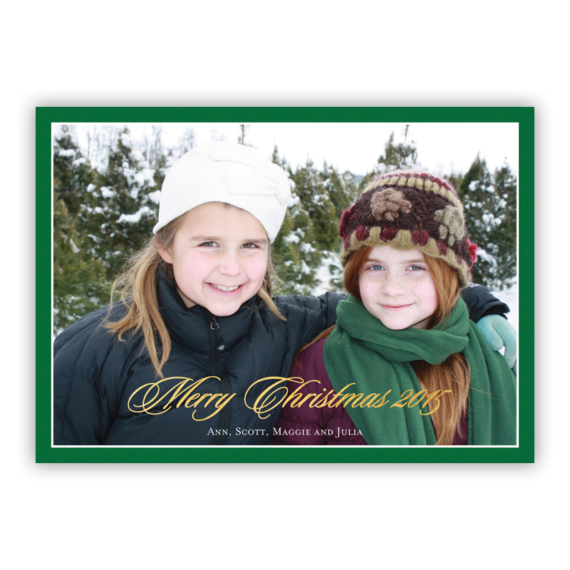 Christmas Border Evergreen with Foil Holiday Flat Photocard