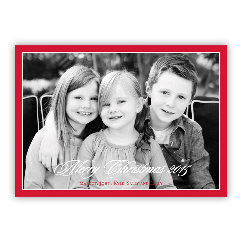 Christmas Border Red Holiday Flat Photocards