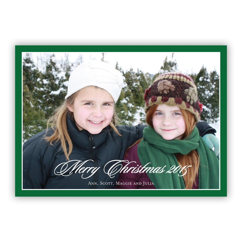 Christmas Border Evergreen Holiday Flat Photocards