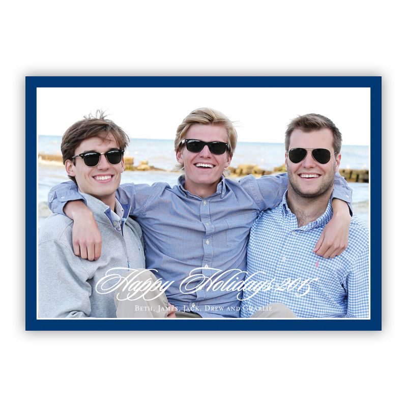 Holiday border Navy Holiday Flat Photocards