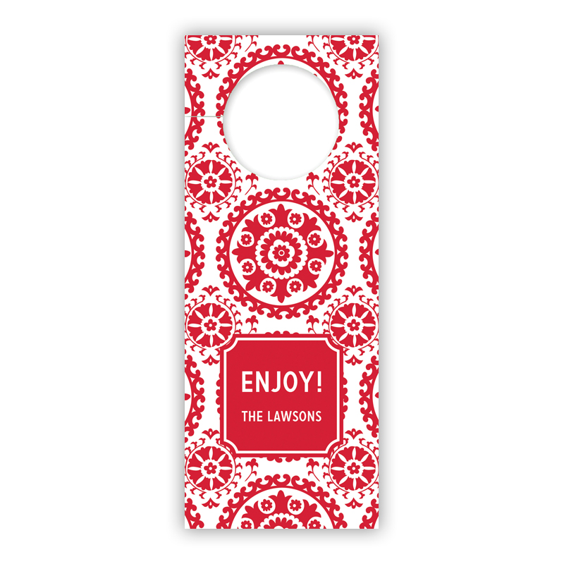 Suzani Red Holiday Wine Tag, Qty 8