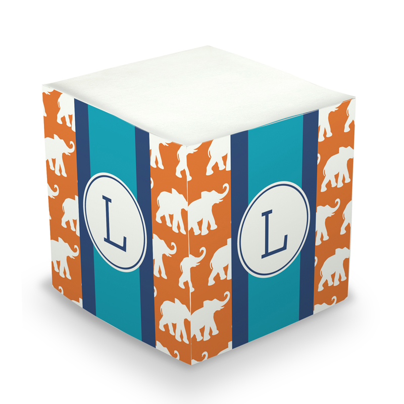 Sticky Note Cube - Elephants Ribbon in Orange