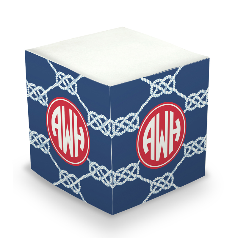 Sticky Note Cube - Nautical Knot Navy