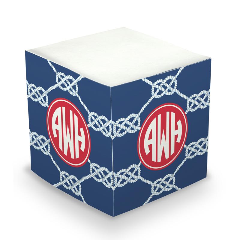 Sticky Note Cube - Nautical Knot Navy