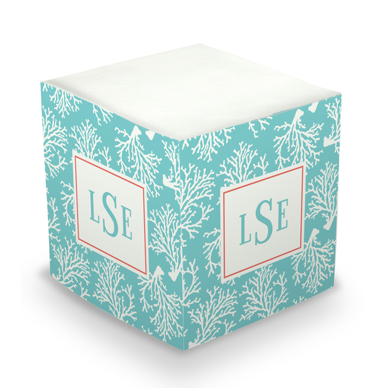 Sticky Note Cube - Coral Repeat Teal