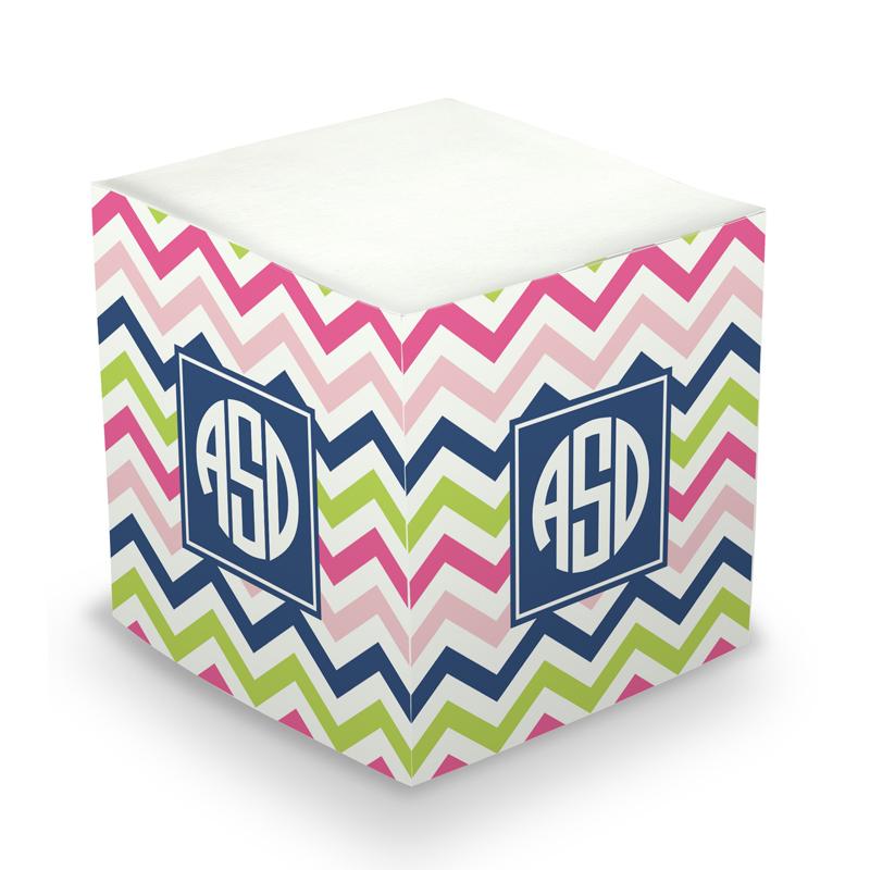 Sticky Note Cube - Chevron Pink, Navy & Lime