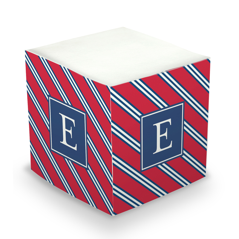 Sticky Note Cube - Repp Tie Red & Navy