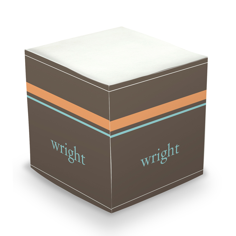 Sticky Note Cube - Brown Stripes