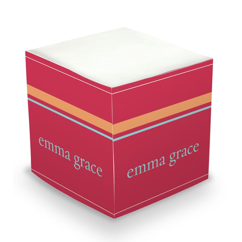 Sticky Note Cube - Red Stripes